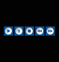 Blue white square music control buttons set vector