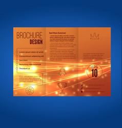 Bright orange speed energy wave line brochure vector