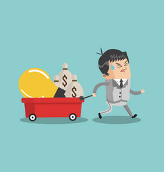businessman pulling cart with money vector image