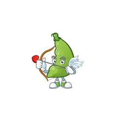 Cartoon character broad beans cupid having vector