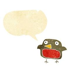 Cartoon robin with speech bubble vector