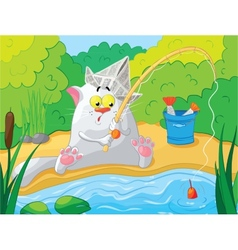 Cat fishing on the river vector image