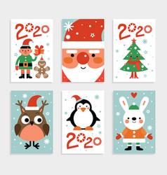 christmas characters card set santa penguin and vector image