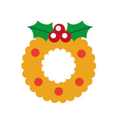 christmas wreath with holly berries ball festive vector image