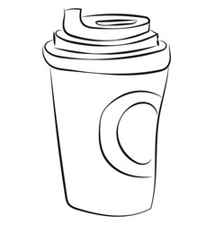 coffee drawing on white background vector image
