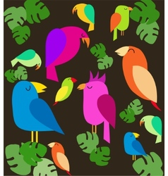 colorfull parrots on trees vector image