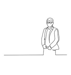 continuous one line drawing a young businessman vector image