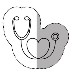 Contour black sticker stethoscope with heart icon vector