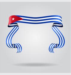 Cuban flag wavy ribbon background vector