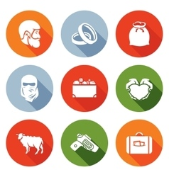 Custom wedding - bride price Icons Set vector image