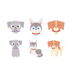 cute dogs lying standing and sit domestic cartoon vector image