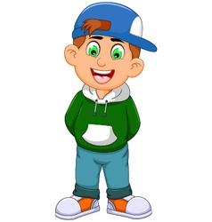 cute little boy cartoon standing vector image
