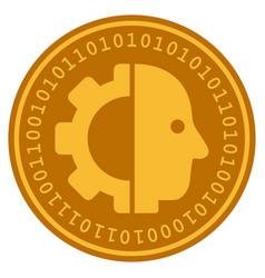 Cyborg head digital coin vector