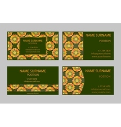 Dark green modern Business-Card Set vector