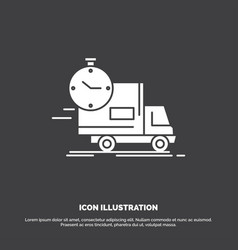 delivery time shipping transport truck icon glyph vector image
