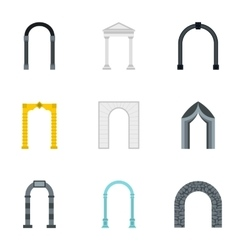 Different arches icons set flat style vector image