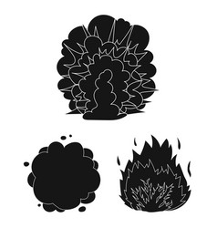 Different explosions black icons in set collection vector