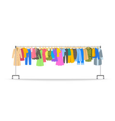 different women clothes on long hanger rack vector image