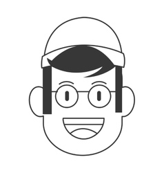 Face of man with cap and glasses icon vector