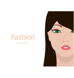 fashion background beautiful girl face vector image