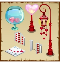 Fence lantern and other items in heart shape vector