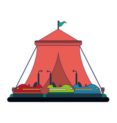 Festival tent and bumpers cars vector