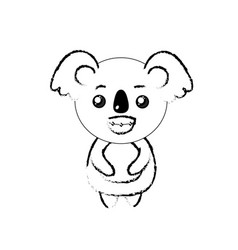 Figure cute koala wild animal with face expression vector