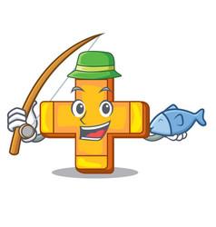 Fishing retro plus sign addition symbol cartoon vector