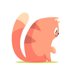 funny red cat sitting on the floor side view vector image