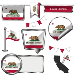 Glossy icons with Californian flag vector