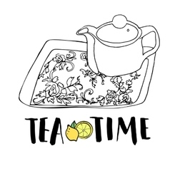 Graphic hand drawn tea set teapot and tea tray vector