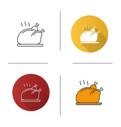 grilled whole chicken icon vector image
