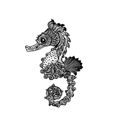 Hand drawn sea horse zentangle style vector