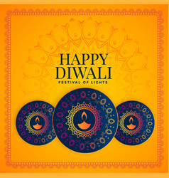 Happy diwali festival background with decorative vector