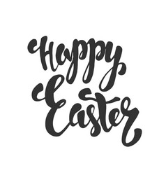 Happy easter calligraphy isolated on white vector
