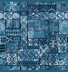 hawaiian style blue tapa tribal fabric vector image