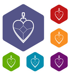 Heart shaped pendant icons set hexagon vector