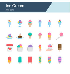 ice cream icons flat design for presentation vector image