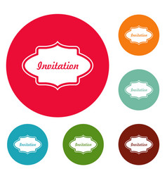 Invite label icons circle set vector