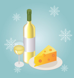 isometric red wine bottle with glass on winter vector image