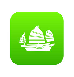Junk boat icon digital green vector