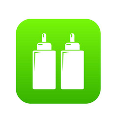Ketchup mustard squeeze bottle icon green vector
