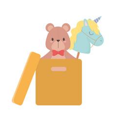 Kids toys object amusing cartoon bear unicor in vector