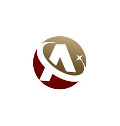 Letter a logo circle shape symbol red and gold vector