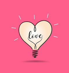 light bulb heart love design on pink vector image