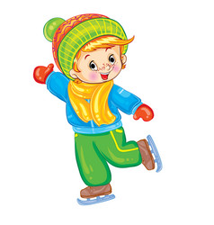 little boy skating in winter for a postcard vector image