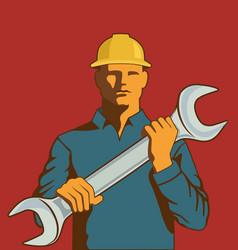 man with spanner vector image