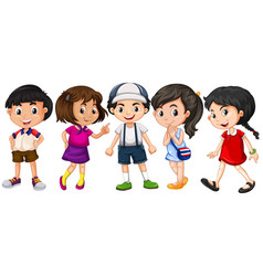 Many children with big smile vector