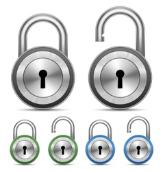 metallic padlock vector image vector image