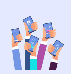 Mobile phone apps hands holding smartphones with vector